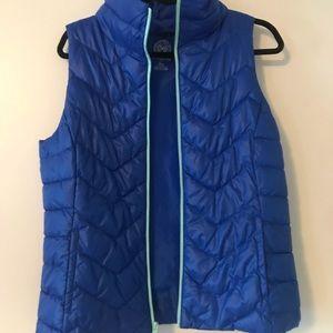 New blue w/ turquoise/aqua trim puffer vest
